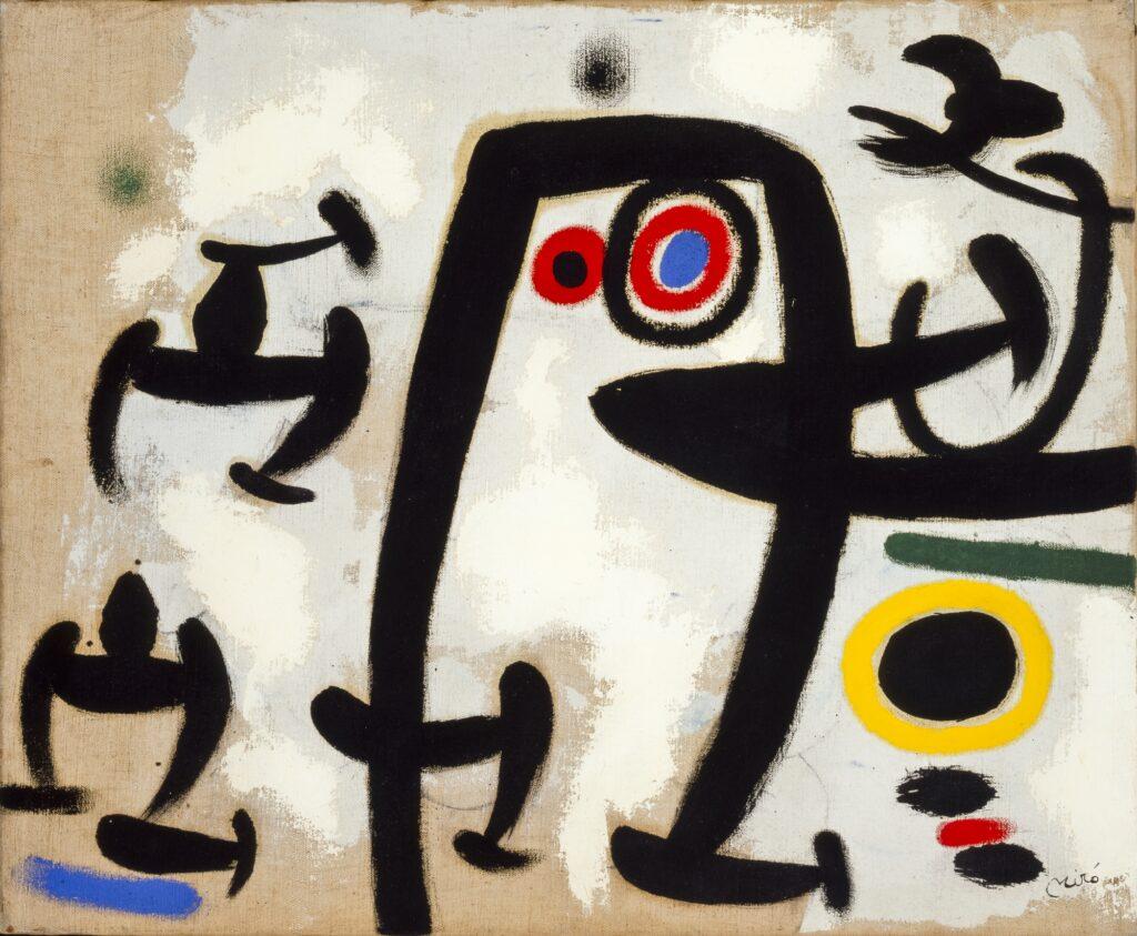 5. Joan Miró Femmes et oiseaux II / Mujeres y pájaros II, 1969 Óleo sobre lienzo 50 x 61 cm Colección Particular en depósito temporal ©Successió Miró 2020